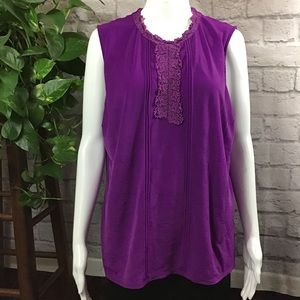 🍃Worthington purple lace embroidered bust XL tank